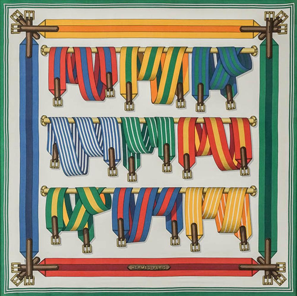 Hermès Polychrome Silk 'Les Sangles' Scarf, Signed J. Metz, Framed, 39 x 39 inches