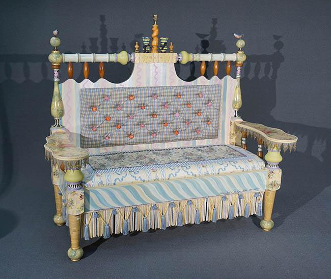 MacKenzie-Childs Painted and Decorated Wood Upholstered 'Ridiculous' Settee