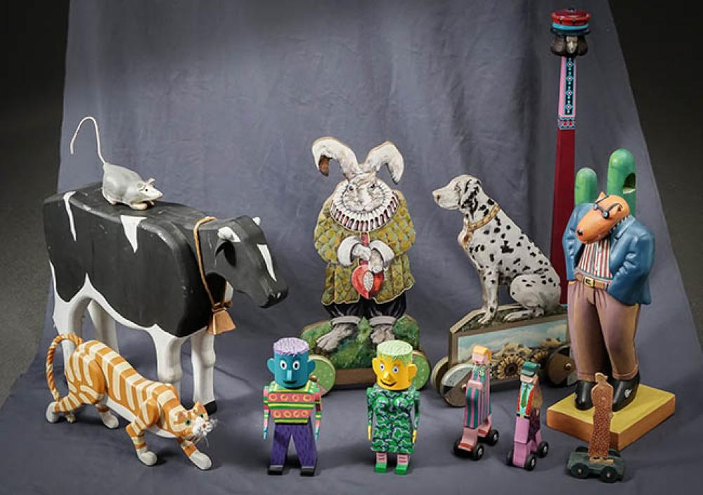 Thirteen Painted and Transfer Decorated Wood Whimsical Figures by Iva O'Connor and Anna Cosintine