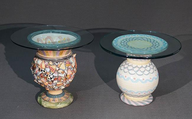 Two MacKenzie-Childs Art Pottery Round Glass Top Side Tables