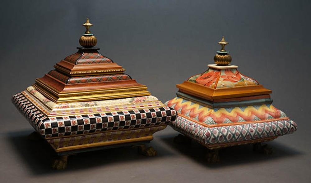 Two MacKenzie-Childs Art Pottery and Decorated Wood Square Covered Boxes