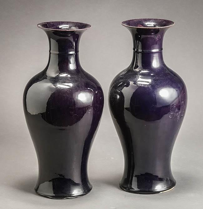Pair of Chinese Mirror-Aubergine Glaze Baluster Vases Circa 1900