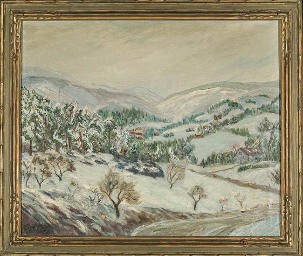Henry Hobart Nichols (American 1869-1962), Winter in the Valley, Oil on Canvas, 25 x 30 inches