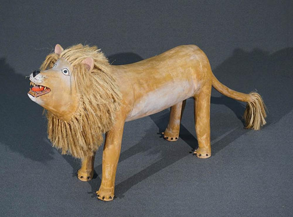 Painted Ceramic and Raffia Sculpture of a Lion