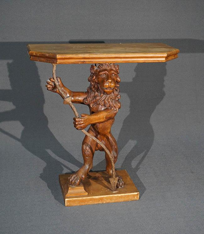 Carved Pine and Wrought-Iron 'Lion' Console Table
