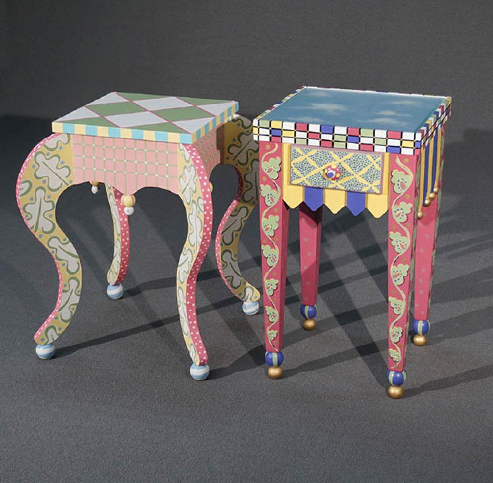 Two MacKenzie-Childs Type Painted and Decorated Wood Side Tables