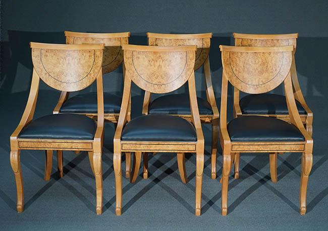 Six Biedermeier Style Cherry and Burlwood Black Leather Seat Dining Chairs Modern