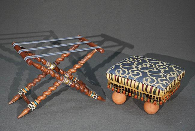 MacKenzie-Childs Art Pottery and Gold and Blue Upholstered Low Stool and a Folding Luggage Rack