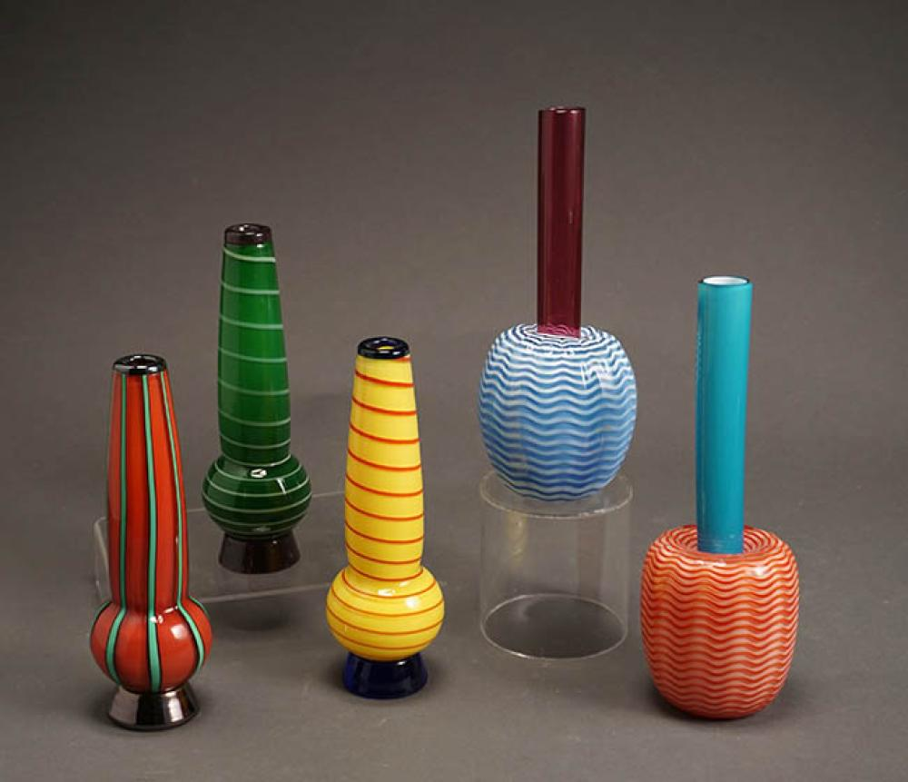Collection of Five Chatham Art Glass Co. Vases