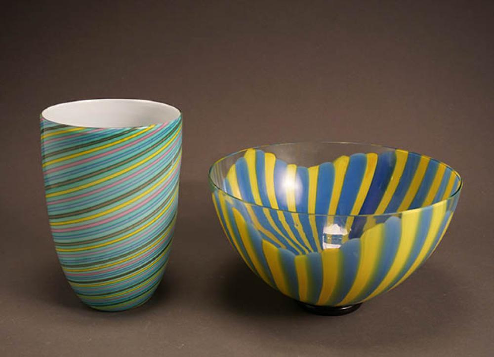 Cenedese Vetri for Murano Art Glass Vase and a Seguso Viro for Oggetti Art Glass Bowl
