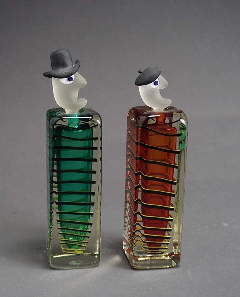 Two Fernando Agostinho Glass Figural Perfume Bottles