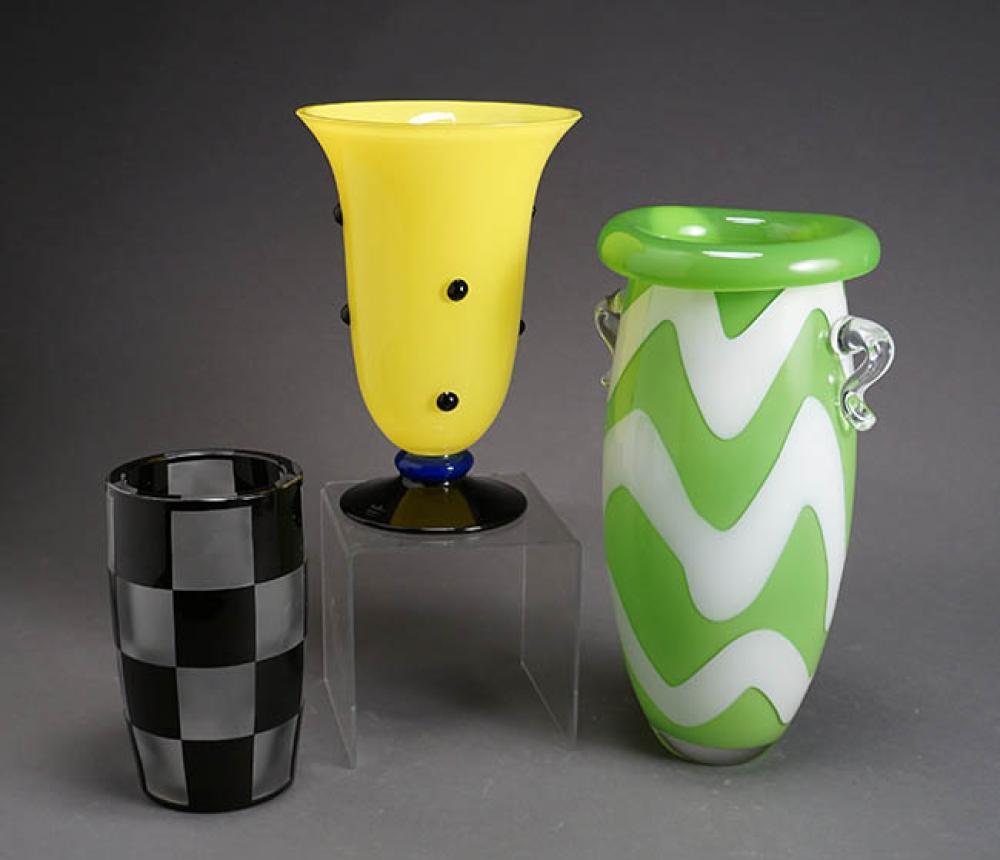 Anne Nilsson Art Glass Vase, a Val St. Lambert Checkered Art Glass Vase and a Rosenthal Studio Linie Art Glass Vase