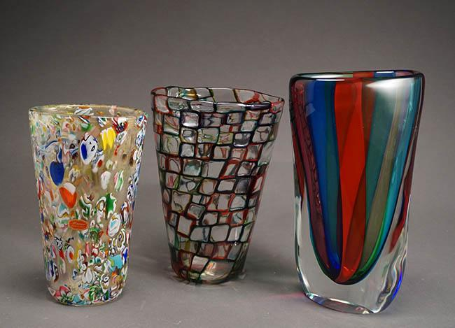 Group of Three Art Glass Vases