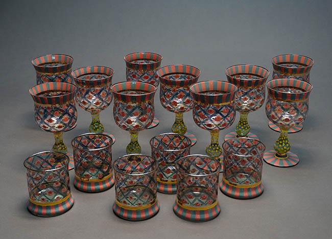 Ten MacKenzie-Childs 'Circus Rose' Art Glass Tall Water Goblets and a Set of Six Old Fashioned Tumblers