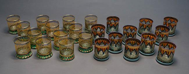 Eleven MacKenzie-Childs Art Glass 'Circus-Pennant' Old Fashioned Tumblers and Thirteen 'Circus-Dots' Old Fashioned Tumblers