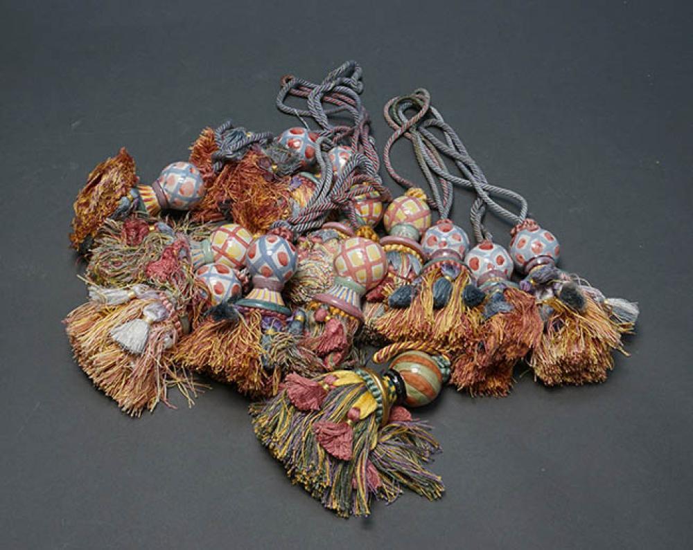 Collection of Thirteen MacKenzie-Childs Art Pottery Tassels