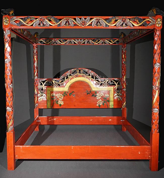 Latin American Carved, Partial Silvered and Red Lacquered Wood King Size Tester Bed Last Half 20th Century