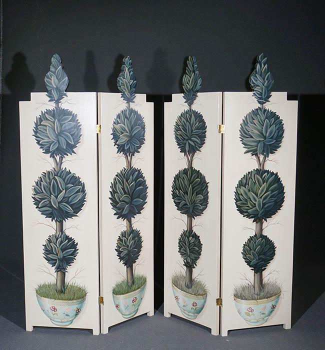 Pair of Painted and Decorated Topiary Two-Panel Floor Screens, Each Oil on Panel, 69-1/2 x 38 inches