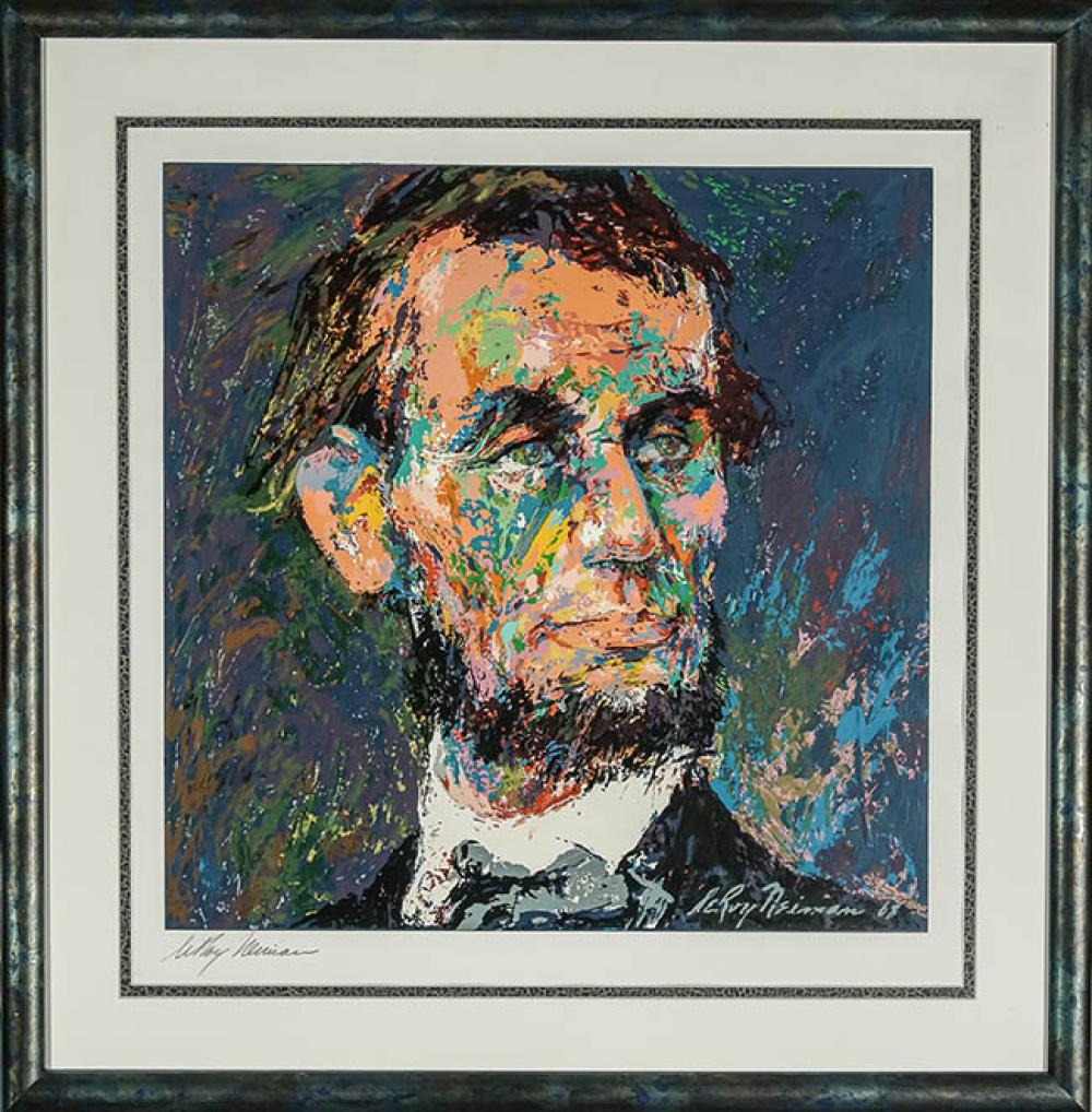 LeRoy Neiman (American 1921-2012), Abraham Lincoln, Screenprint in Color, Framed, Sight size: 20 x 19-1/2 inches