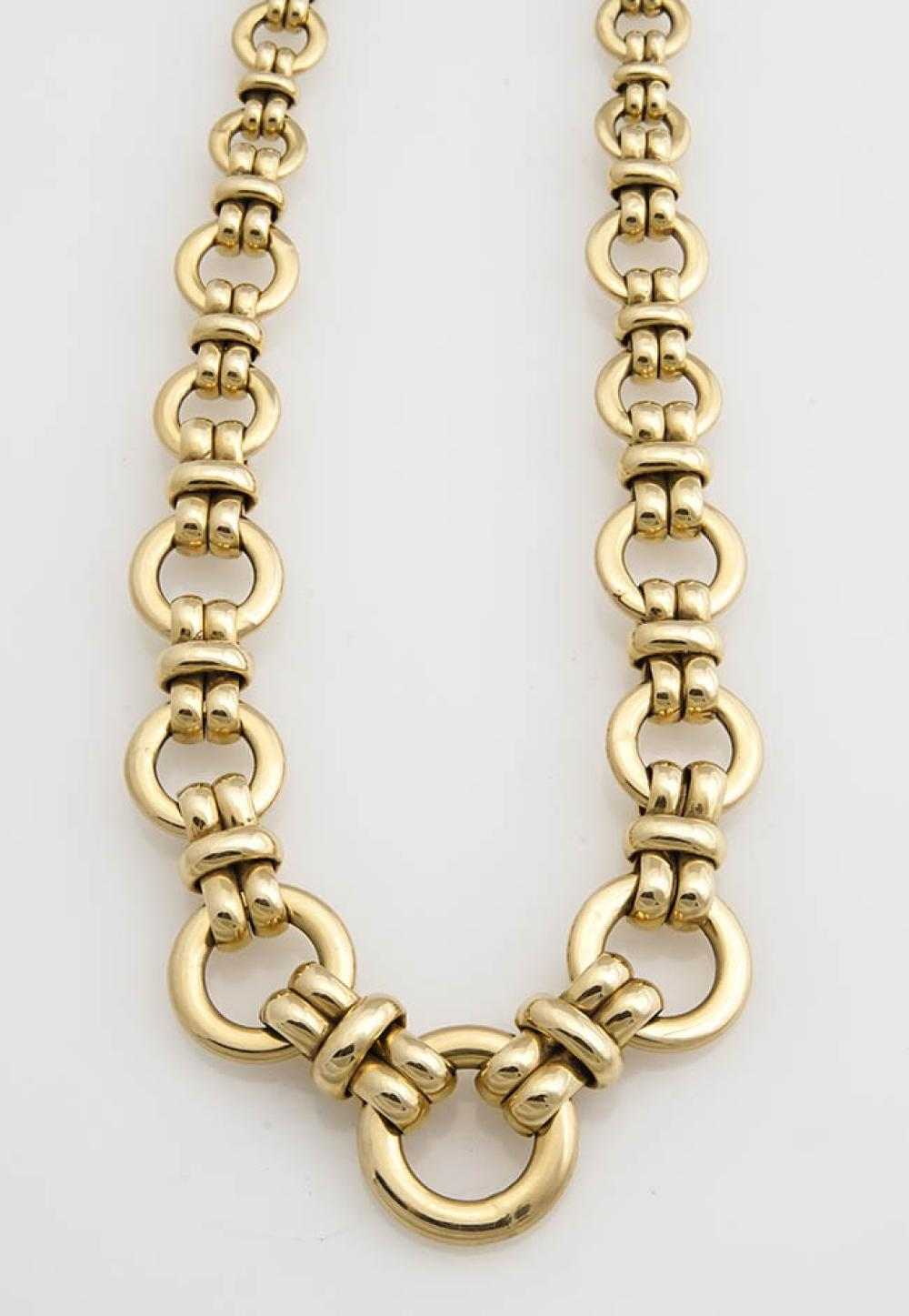 Italian Choker Length 14-Karat Yellow-Gold Link Necklace