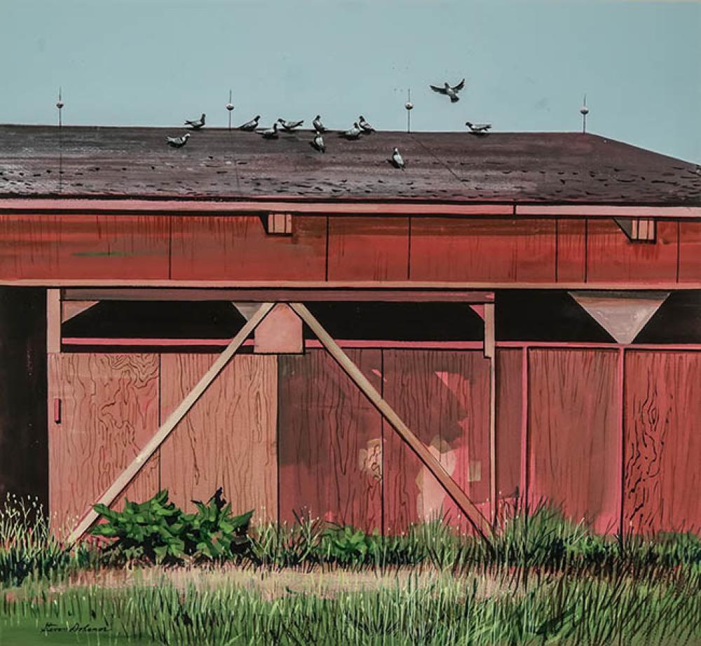 Stevan Dohanos (American 1907-1995), The Horse Barn, Gouache on Board, Framed, Sight size: 18-1/4 x 20 inches