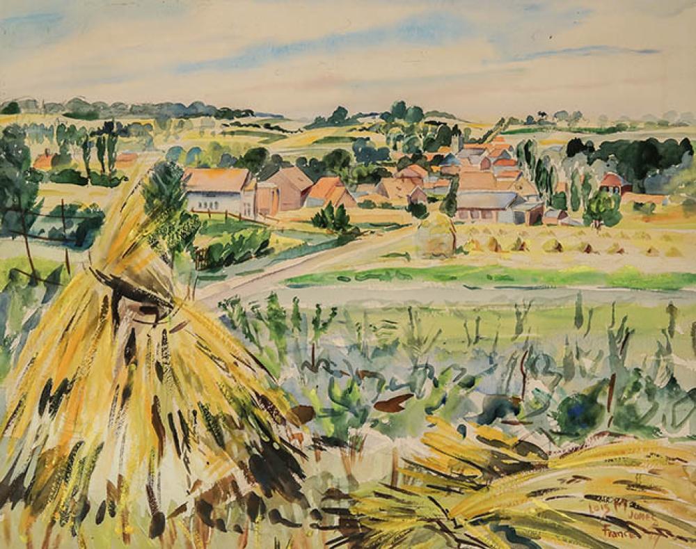 Lois Mailou Jones (American 1905-1998), La Morssone à Thérouanne, Pas-de-Calais, Watercolor on Paper, Framed, 18 x 22-1/2 inches