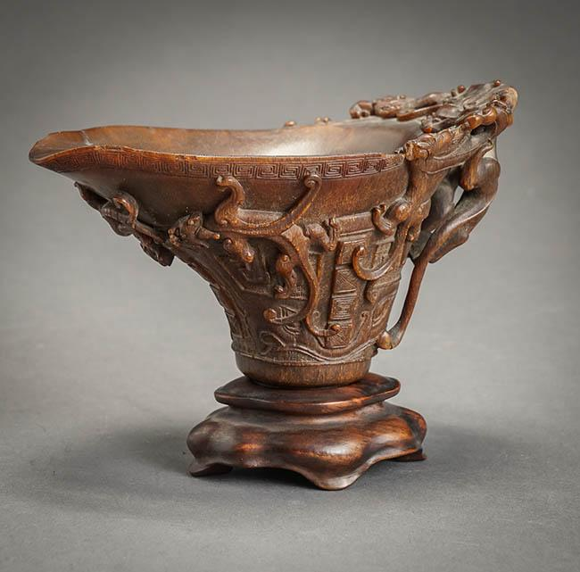 Chinese Carved Rhinoceros Horn Archaic Bronze-Form Libation Cup 17th-18th Century