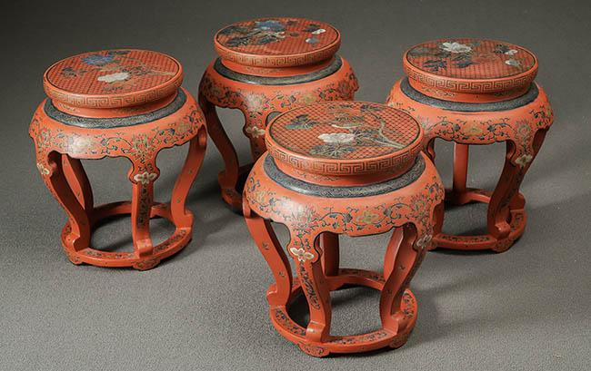 Four Chinese Polychrome Rouge Lacquer Stands 20th Century