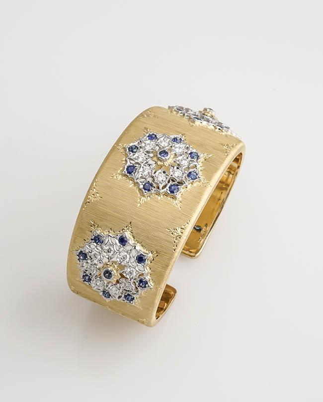 18-Karat Yellow-Gold, Blue Sapphire and Diamond Cuff Bracelet, Mario Buccellati