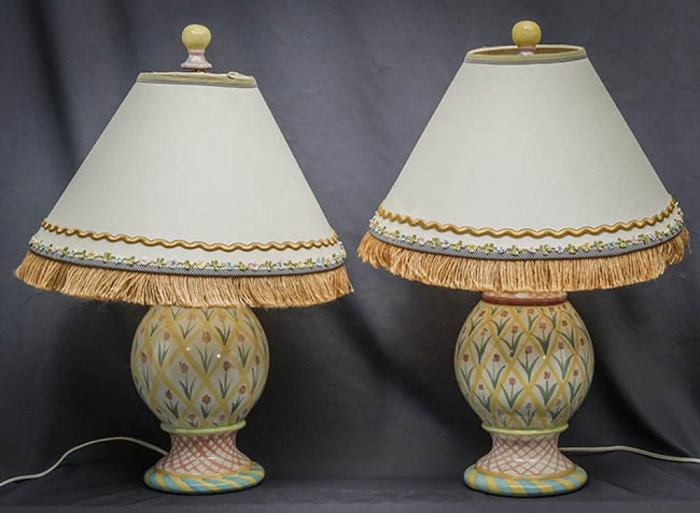 Three MacKenzie-Childs Art Pottery Table Lamps