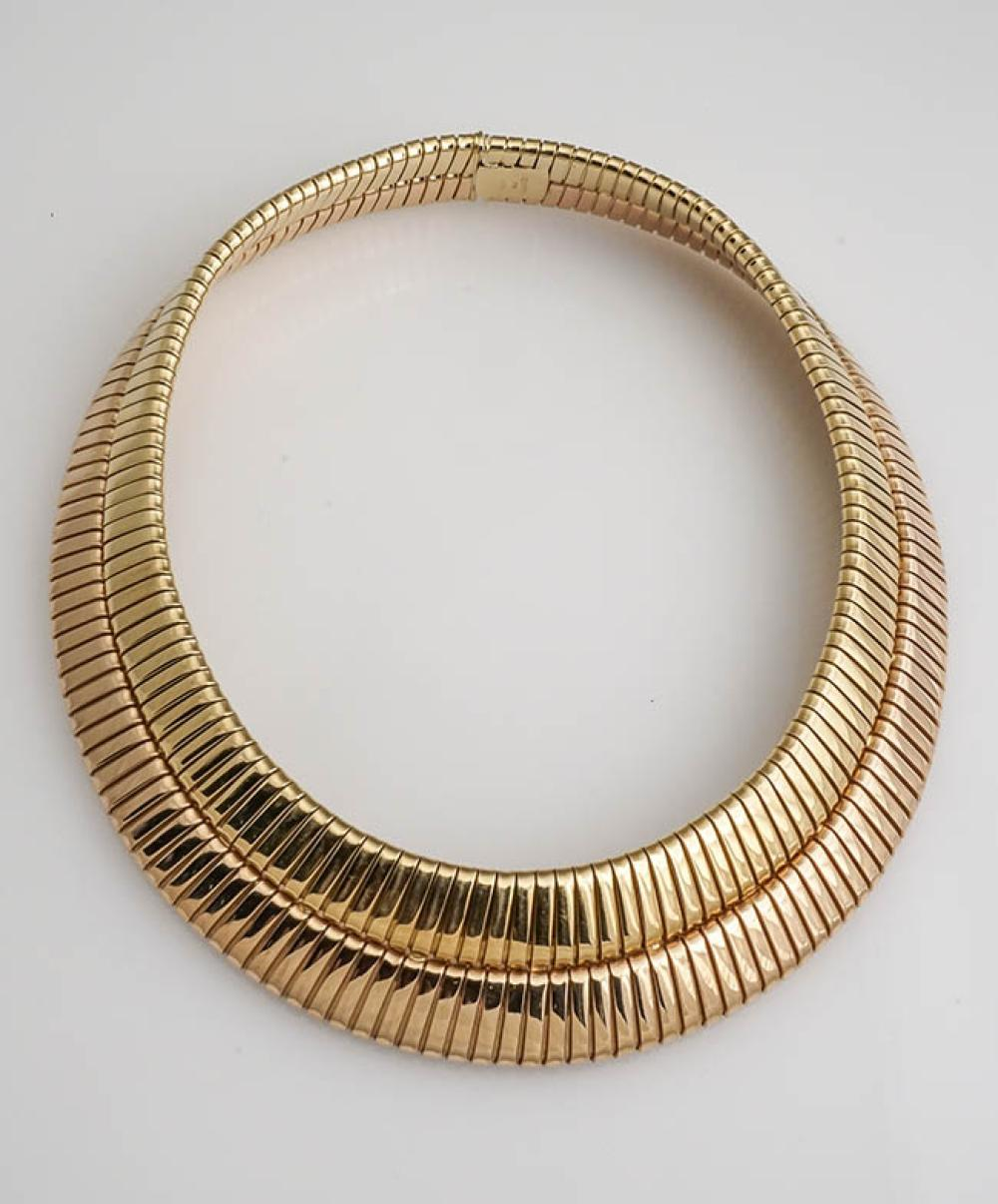 Italian Princess Length 18-Karat Yellow-Gold and Rose-Gold 'Double Tubogas' Necklace, Bulgari