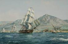 Roy Cross (British b. 1924), Old Ironsides off the Corsican Coast, Watercolor and Gouache on Paper, 11 x 16 inches