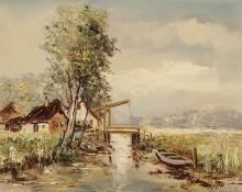 Hendrikus Alexander van Ingen (Dutch 1846-1920), Estuary Scene with Drawbridge, oil on canvas, 16-1/4 x 20-1/4 in