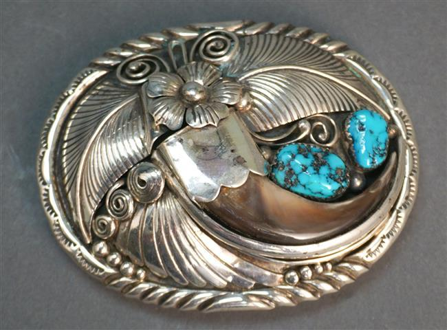 Navajo Sterling and Turquoise Belt Buckle, signed N. King, 3 x 2-3/8 in