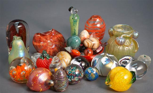 Collection with Art Glass and Stone Paperweights, Egg Ornaments, Candy and other Cabinet Articles