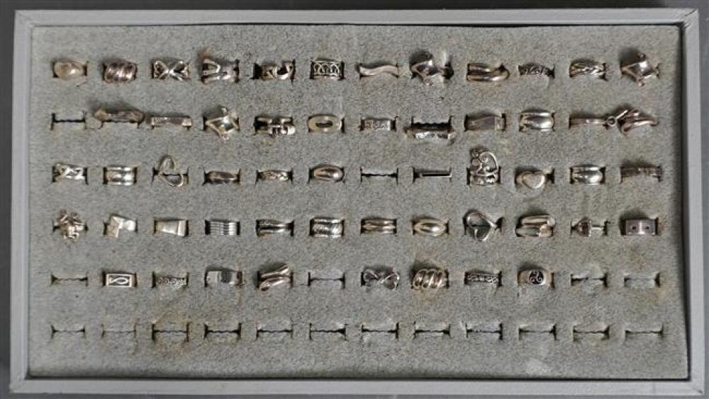 Collection of 54 mostly Sterling Silver Rings