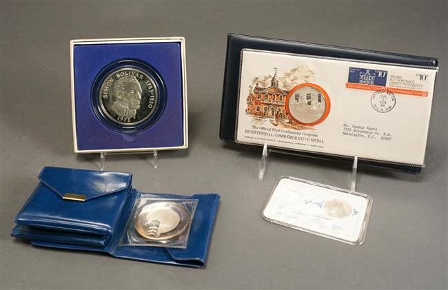 Republic of Panama 20-Balboas Proof Sterling Coin, 3 Vietnam 1973 .999 Fine-Silver Medallions and a Collector's Coin, 8.4 weighable oz