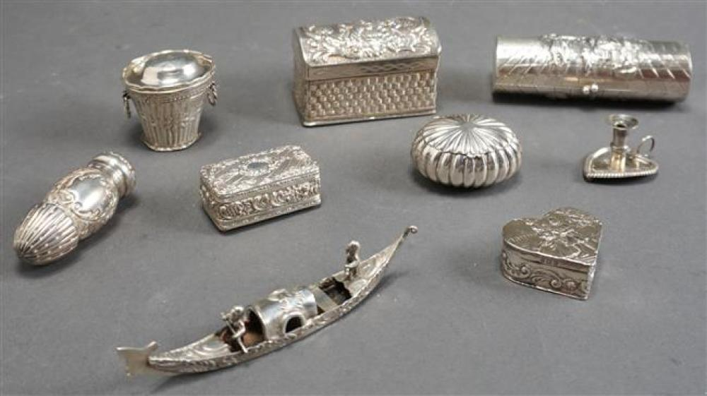 Group with Seven Continental Silver Pill or Trinket Boxes, Silver Gondola and Miniature Chamber Candlestick, 8.8 oz