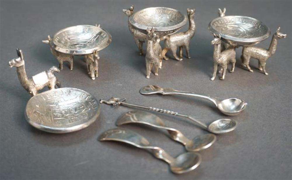 Set of Four Peruvian Silver 'Coin' Salt Cellars with Llama Bases and Four Spoons, 19th Century Coins, 6.2 oz