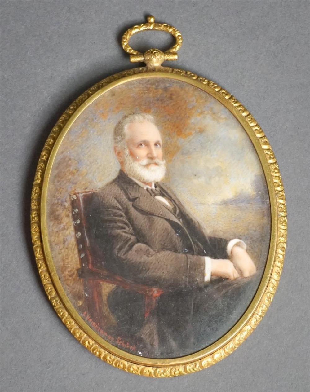Miniature Watercolor Portrait of Charles W. Norris