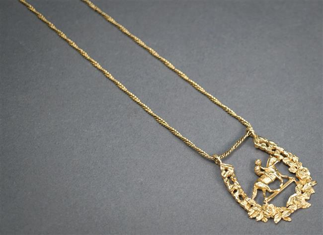 14-Karat Yellow-Gold 'Equestrian' Pendant Necklace, 10.3 dwt, L: 26-3/4 in