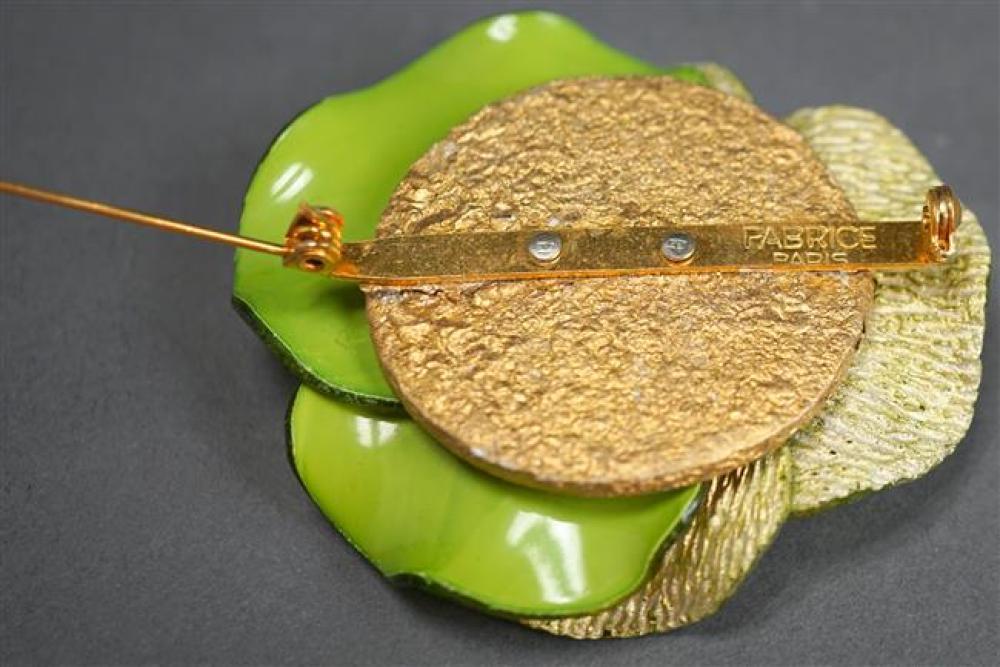 Fabrice Paris Green Resin Pansy Pin