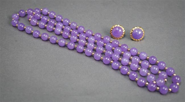 Lavendar Jade Bead Necklace and a Pair of 14-Karat Yellow-Gold and Lavendar Jade Pierced Earrings
