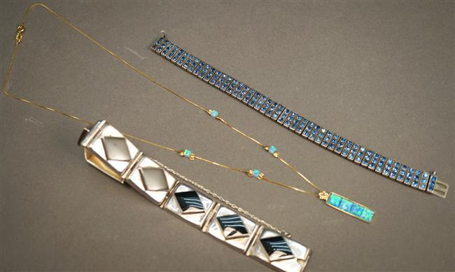 14-Karat Yellow-Gold and Simulated Opal Necklace (1.6 dwt), a Sterling Silver and Onyx Bracelet and a Rhinestone Bracelet