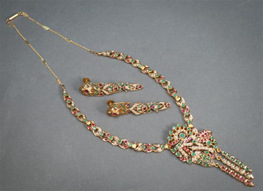 Indian Gold-Plated Metal, Emerald, Ruby and Pearl Necklace with a 14-Karat Gold Extension; and a Pair of Matching Earrings