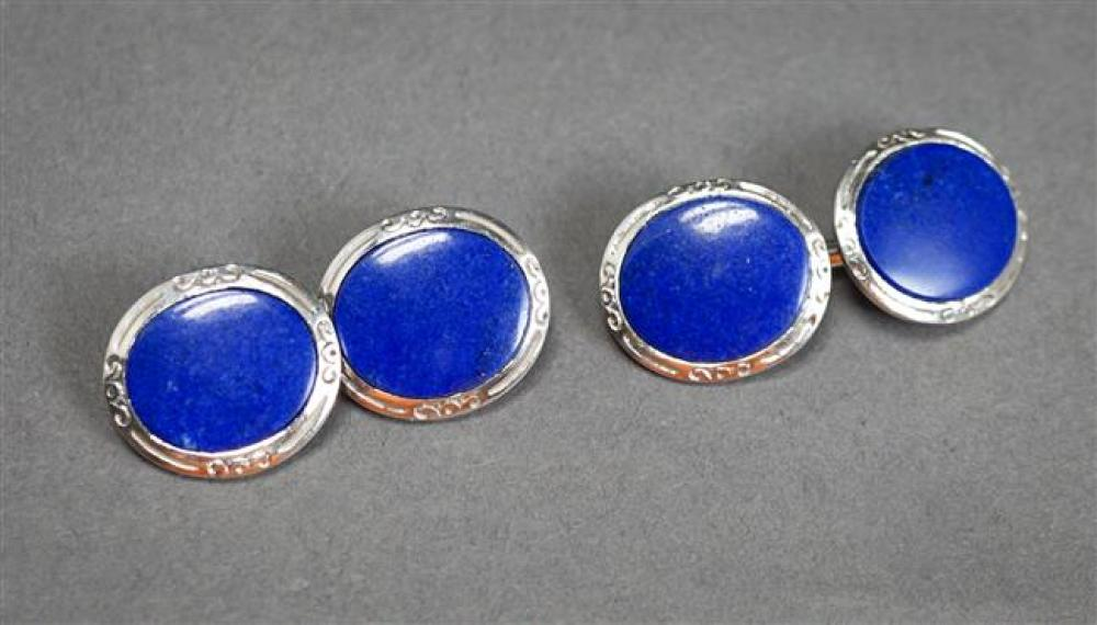 Pair of Tiffany & Co Platinum and Lapis Lazuli Cufflinks, 8.1 gross dwt