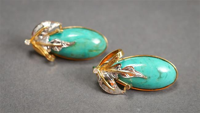 Pair of 14-Karat Yellow-Gold, Turquoise and Diamond Pierced French Clip Back Earrings, 5.6 gross dwt, Length: 1-1/8 in