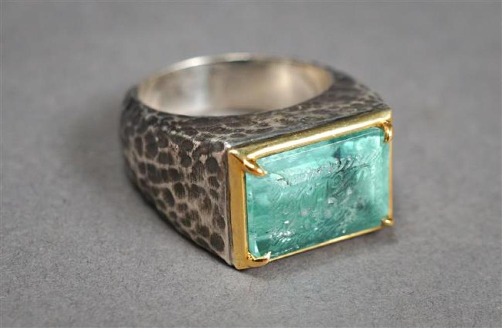 Hammered Sterling Silver, 18-Karat Yellow-Gold Mounted and Incised Emerald Ring, Emerald approx 15.05 x 10.70 mm, Size: 8-1/2