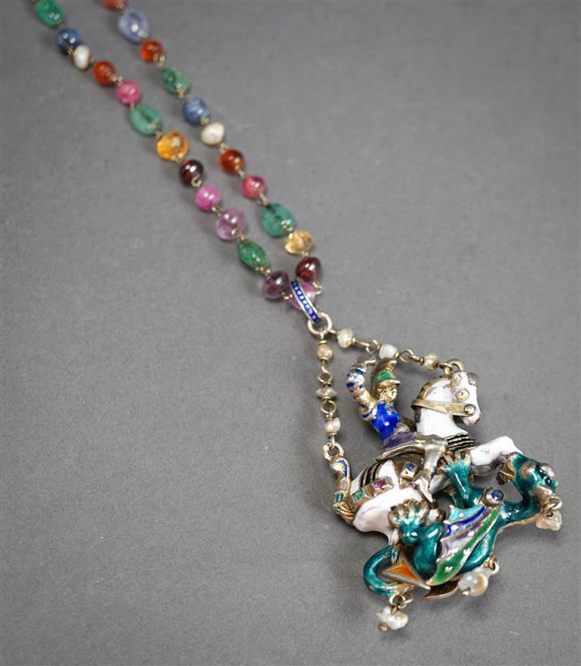 Continental Renaissance Revival Silver, Enamel and Gem Set 'St. George Slaying the Dragon' Pendant Necklace, L of necklace: 17-1/2 in