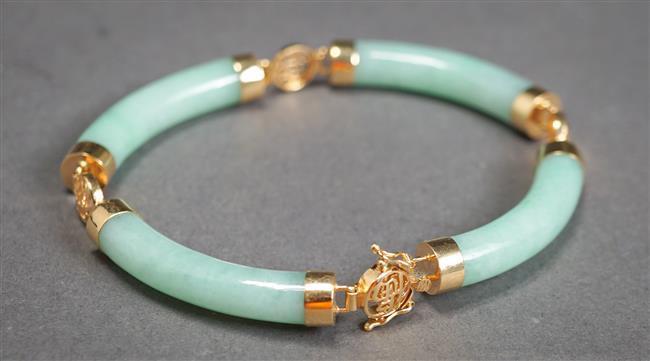 14-Karat Yellow-Gold and Jade Bracelet, Length: 7-1/2 in